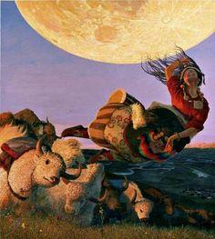 Wang Yiguang「Tibétaine volant au-dessus des yaks」
