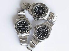 A Trio of Divers. Submariner Ref 116610 Sea Dweller Ref 116600 Deep Sea Sea Dweller Ref 116660 Dream Watches, Sport Watches, Luxury Watches, Cool Watches, Rolex Watches, Watches For Men, Oris Aquis, Older Mens Fashion, Sea Dweller