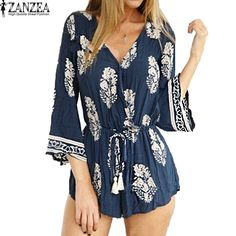 ZANZEA Womens Floral Print 3/4 Sleeve Summer Playsuit Beach Casual Boho V Neck Shorts Jumpsuit Romper Plus Size