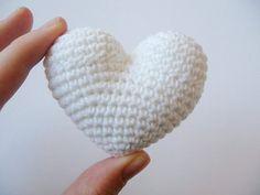 Crochet Heart White Wedding Favor by lamagique on Etsy