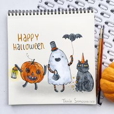 trick-o-treat Happy Halloween!  #illustration #happyhalloween #halloween #spooky #ghost #pumpkinspice #trickortreat #painting #watercolor #october #allsaints