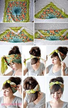 How to tie a turban style headband. I like this look for a bad hair day Hair Day, My Hair, Girl Hair, How To Tie Bandana, Curly Hair Styles, Natural Hair Styles, Hair Styles With Bandanas, Short Hair Styles Thin, How To Style Short Hair