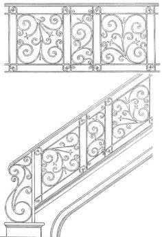 Scroll Panels, Iron Hand Railing, Spiral Railing, Decorative Iron, Handmade In America Since Staircase Railing Design, Wrought Iron Stair Railing, Iron Staircase, Hand Railing, Interior Handrails, Iron Balcony, Iron Doors, Architecture, Decoration