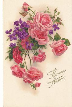 Roses et violettes Papiers vintage