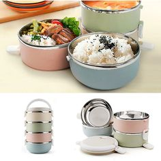 1/2/3/4 Layers Stainless Steel Thermal Insulated Lunch Box ($6.76) ❤ liked on Polyvore featuring home, kitchen & dining, food storage containers, stainless food storage containers, stainless container, stainless lunch box, stainless steel container and thermal container
