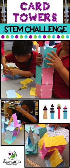 STEM Challenge: In Card Towers, students will make a tower designed for height and/or stability! Includes modifications for grades 2-8.