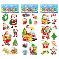 6 sheets/set Christmas Santa Snowman Tree stickers for kids Home decor on laptop 3D sticker decal fridge skateboard doodle toy