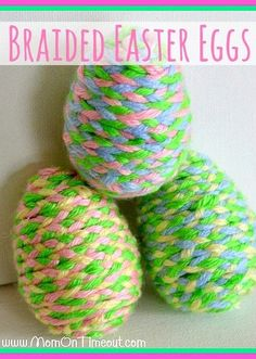 Braided, Yarn-Wrapped Easter Eggs | MomOnTimeout.com #Easter #craft #yarn