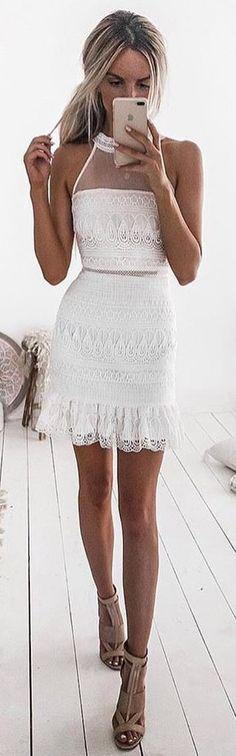 #winter #outfits white spaghetti-strap dress