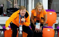 Dutch King Willem-Alexander and Queen Maxima cheering on the Dutch speed skating team. Olympic Games, Sochi 2014.