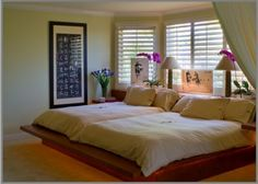 Cute Double Queen Bed On Double Queen Beds For An Old Married Couple Contemporary Bedroom With Bedrooms Oriental Bedroom, Asian Bedroom, Bedroom Green, Home Bedroom, Bedroom Decor, Bedroom Ideas, Bed Ideas, Master Bedroom, Mexican Bedroom