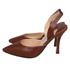 Manolo Blahnik Kidskin Mid-Heel Halter pumps Brown is chic by the unique style,with pointed toe,cutout at the middle,slingback at the ankle,which will make a different and shiny you.