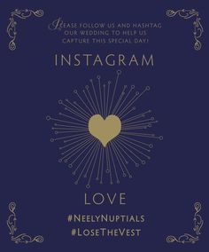 Wedding instagram hashtag card: navy and gold. Names have been removed