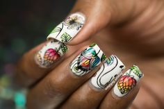 Watercolor Birds and Floral Nail Art   Tutorial Floral Nail Art, Crazy Nails, Stamping Nail Art, Watercolor Bird, Flower Nail Art
