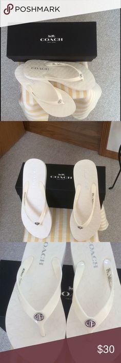 NWB Coach Abbigail Rubber Sandals Cute Coach Abbigail rubber chalk summer sandals. New with box. Coach Shoes Sandals