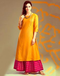 Poly+Silk+Orange+Plain+Semi+Stitched+Palazzo+Style+Suit+-+S1018 at Rs 799