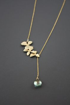 Green Topaz Flower Lariat Choice of Gold Filled by YaniaCreations