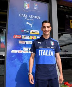 Mattia De Sciglio of Italy poses for a photo at the end of the press conference at Casa Azzurri on June 11, 2016 in Montpellier, France.