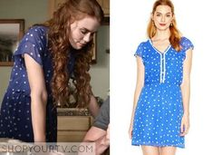 Lydia Martin wears this Maison Jules flutter-sleeve blue and white polka dot dress on Teen Wolf 5x07