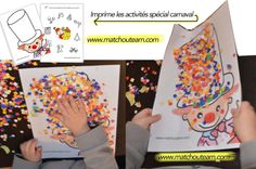 carnaval+les+fiches+à+imprimer. Carnival Activities, Craft Activities For Kids, Kindergarten Activities, Preschool Activities, Theme Carnaval, Circus Crafts, Clown Party, Es Der Clown, Sensory Art