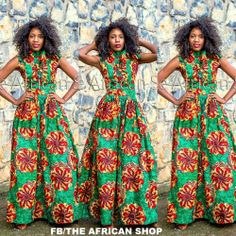 Josy Maxi Dress with neck bow tie by THEAFRICANSHOP on Etsy, £75.00