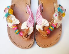 Items similar to Leather Sandals with hello kitty, glass beads and ribbon on Etsy Boho Sandals, Palm Beach Sandals, Leather Sandals, Flip Flop Sandals, Flip Flops, Glass Beads, Hello Kitty, Slippers, Crafting