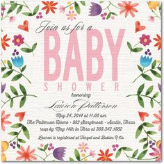 pretty baby shower invite