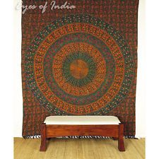QUEEN GREEN HIPPIE INDIAN MANDALA TAPESTRY WALL HANGING Picnic Bohemian Decor