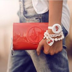 met boyfriend jeans ops objects bracelets white watch  white bracelets armani handbag  available: www.fashionplanet.cz