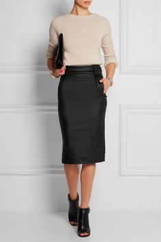 VIVIENNE WESTWOOD ANGLOMANIA Fall coated stretch-jersey pencil skirt