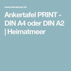 Ankertafel PRINT - DIN A4 oder DIN A2   Heimatmeer