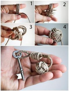 "Portachiavi con corda modello scubidu HOw to do a ""monkey´s fist knot"". Foto: Hasse  Hedström:"