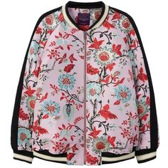 Floral Design Bomber Jacket (475 RON) ❤ liked on Polyvore featuring outerwear, jackets, floral jacket, bomber jackets, pink flight jacket, blouson jacket and long sleeve jacket