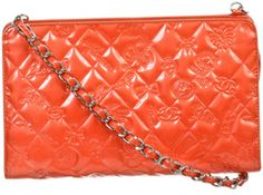 Chanel Coral Charm Icon Embossed Patent Leather Top Zip Pochette Handbag 08C
