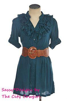 Cute Ruffled V Neck Dress Shirt with belt!
