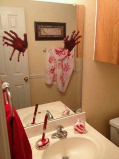 bloody handprints trying to get out of the mirror #halloween #decorations