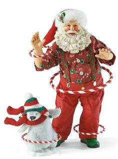 Hula Hoop-This set is adorable. Santa's penguin friend is flocked and full of fun as he tries to keep his hula hoops in motion like Santa Father Christmas, Christmas Art, Christmas Decorations, Christmas Villages, Christmas Ideas, Xmas, Holiday Decor, Vintage Santa Claus, Vintage Santas