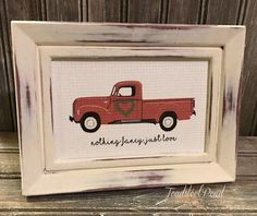 Lightweight frame painted and distressed with vintage inspired red truck inset. Has a sweet little boxwood wreath for Valentines Day or year round. -Wording can be personalised or changed. -Its gorgeous with a family name and est date at the bottom! -Order with any quote you like and