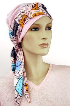 $26.00 - Pink Gauze 2-Tone Head Wrap #cancer #chemo #alopecia