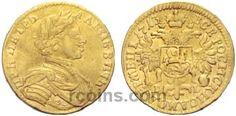 1 червонец 1713 года  Материал чеканки монеты: Золото(Au) Вес монеты: 3,48 г Гурт: гладкий Разновидность: Без знака гравера. Редкость по каталогу Биткина: (R2) Состояние данного экземпляра: VF(VeryFine) Стоимость монеты 1 червонец 1713 года:   62500 CHF Стоимость монеты по металлу составляет 10106 р по ценам на 26.01.2016