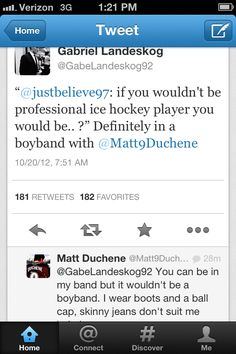 """""""You can be in my band..."""" So it's Duchene's band...got it.  Haha! Gotta love Gabriel's tweets! lol"""