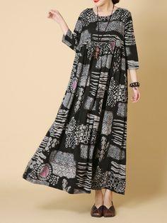 Women Printed Loose Dresses casual cute dresses, casual dresses with converses, gray dresses Plus Size Maxi Dresses, Sexy Dresses, Casual Dresses, Fashion Dresses, Loose Dresses, Vintage Dresses Online, Vintage Style Dresses, Blouse Vintage, Maternity Dresses Summer