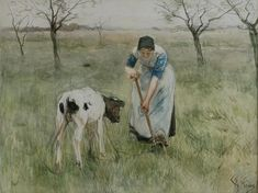Farmer's wife from Laren with a little goat by Anton Rudolf Mauve