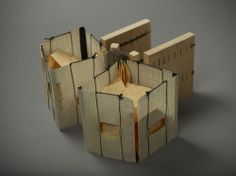 Notions by Ana Cordeiro Caterpillar stitches for paris-map fold; letterpress, waxed paper, thread