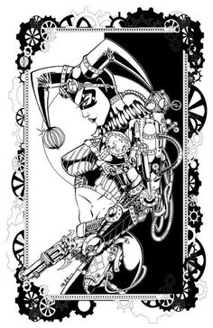 Steampunk Harley Quinn pencils and inks by: Free Isabelo Harley Quinn Tattoo, Harley Quinn Drawing, Joker And Harley Quinn, Free Adult Coloring, Printable Adult Coloring Pages, Coloring Book Pages, Steam Punk, Hearly Quinn, Black And White Drawing