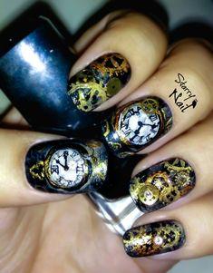 Nail art clock steampunk nails steampunk nails steampunk and steampunk nails are so cool prinsesfo Gallery