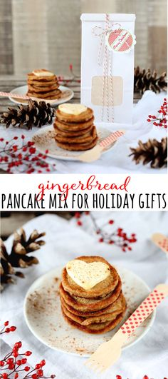 Make homemade gingerbread pancake mix to give for holiday gifts this Christmas! It's perfect to add to a breakfast gift baskets! This recipe fills one half pound tin tie bag or a quart size mason jar. | www.bakerspartyshop.com