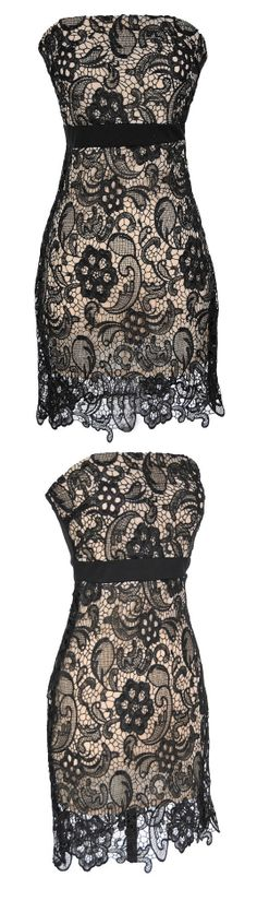 Nude + Black Lace Dress #wedding #party #date #event #fashion