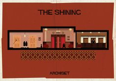 """The Shining - Federico Babina - Archiset Illustrated iconic film sets. Babina's intention was """"to find a different form of expression to be able to enter and walk inside a movie"""". These are beautiful illustrations. Famous Movies, Iconic Movies, Mad Movies, Cult Movies, Indie Movies, Action Movies, Horror Movies, Vintage Architecture, Art And Architecture"""