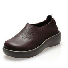 Véritable Glissement En Cuir Sur La Plate-forme Rétro Bout Rond Chaussures Plates 95irLJVX7